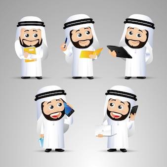 人々はラップトップと一緒に座っているアラブのオフィスの男性を設定します