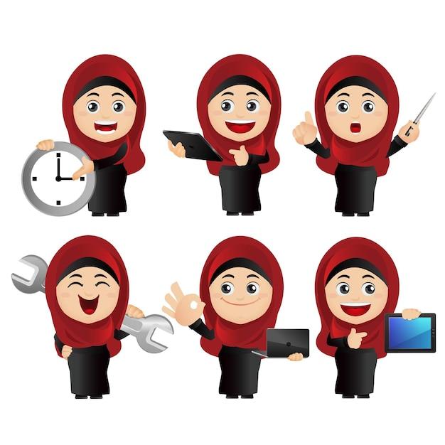 People set.  arab   set of businesswoman.