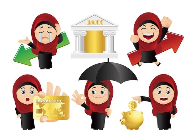 Люди устанавливают арабский набор бизнесвумен