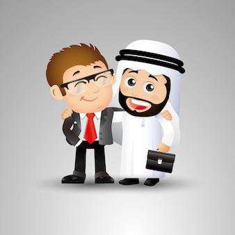 Люди устанавливают арабских двух бизнесменов, держащих друг друга за плечо в совместной работе