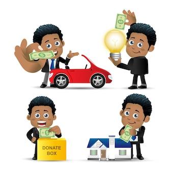 People set  business  african businessman set