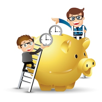 People set  business business people put time in the piggy bank