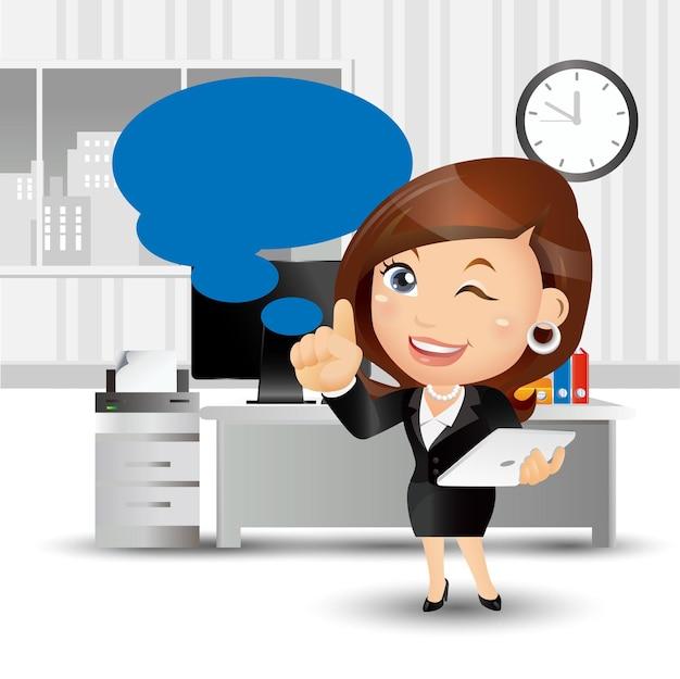 Набор людей - бизнес - деловые люди, стоя в офисе и указывая на ноутбук