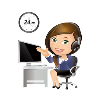 People set - business - businesswoman. customer support with headphones
