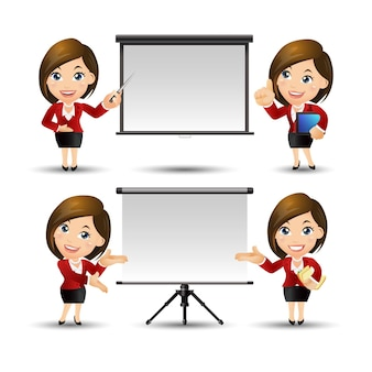 People set - business - businesswoman giving presentation