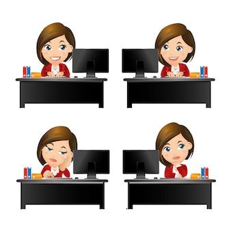 People set - business - businesswoman sitting on desk
