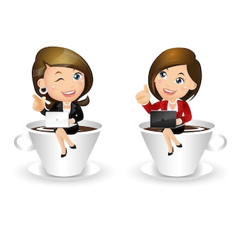 People set - business - businesswoman with cup of coffee
