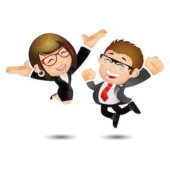 人々はビジネスを設定します成功の達成を祝ってジャンプする幸せなビジネスの人々