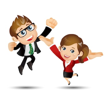 人々はビジネスを設定します成功の達成を祝ってジャンプする幸せなビジネスマン