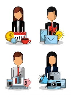 People set business money piggy chart statistics mail