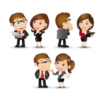 人々のセット-ビジネス-ラップトップで立っているオフィスの女性
