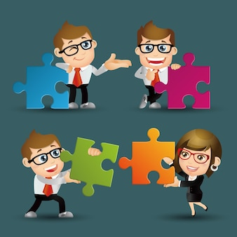 People set - business - team of business people collaborate holding up jigsaw puzzle pieces as a solution to a problem