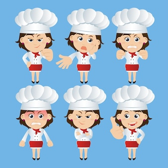 People set of chef characters in different poses Premium Vector