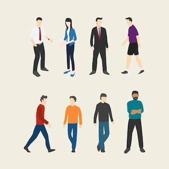 People set collection with flat style