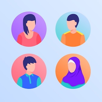People set collection with man and woman moslem in circle with modern flat style