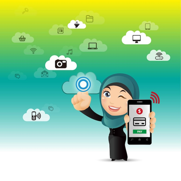 People set  eshopping mobile payments Premium Vector