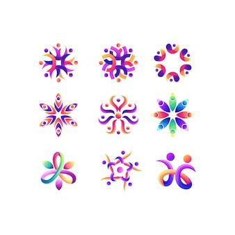 People set gradient color logo design
