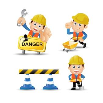 Люди устанавливают строителей профессий с инструментами