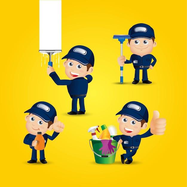 사람들 세트 직업 청소기
