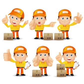 People set profession delivery person set