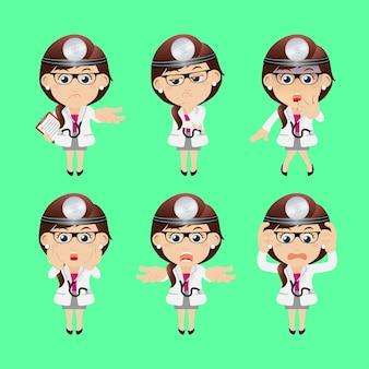 人々はさまざまなポーズで専門医を設定します