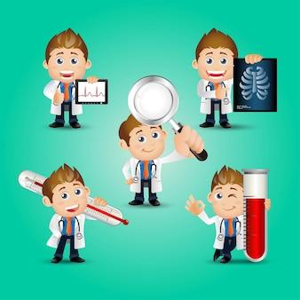 사람들 세트 직업 의사 세트