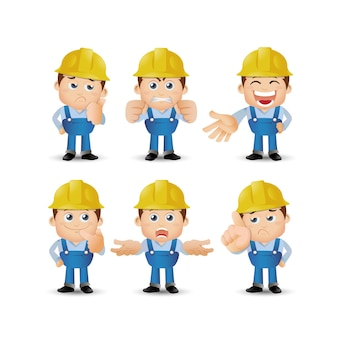 People set  profession  set of builder character in different poses emotion