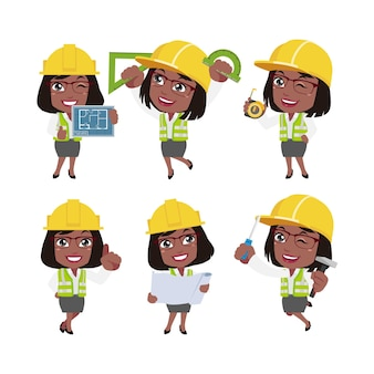 People set  profession  set of builder character in different poses