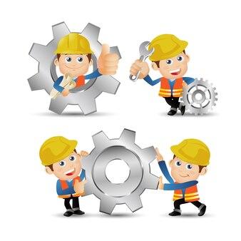 Люди устанавливают набор профессии строителя персонажа в разных позах