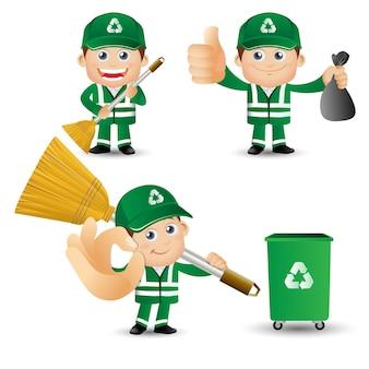 사람들 세트 직업 거리 청소부