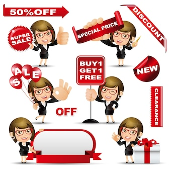 People set  shopping  woman with sale design set