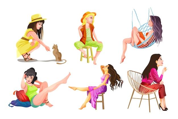 사람들은 아름다운 소녀와 여성으로 설정합니다. 사무실 소녀와 주부. 요가 소녀, 소녀가 앉아있다. 휴식, 거짓말, 생각. 만화 스타일의 고립 된 그림입니다.