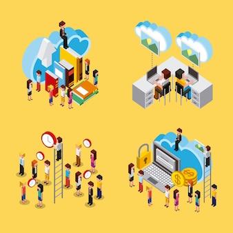 People set working process cloud computing storage isometric