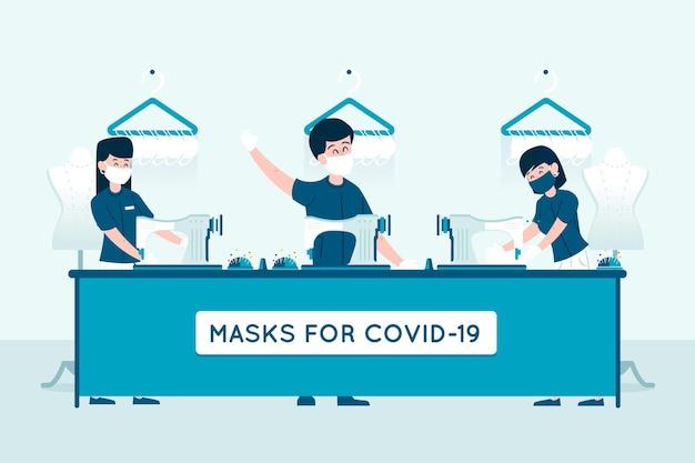 医療用マスクを一緒に縫う人々