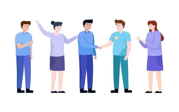 人々はビジネスで協力するために握手し、会社のチームは合意に達し、ビジネスコンセプトのベクトル図です。