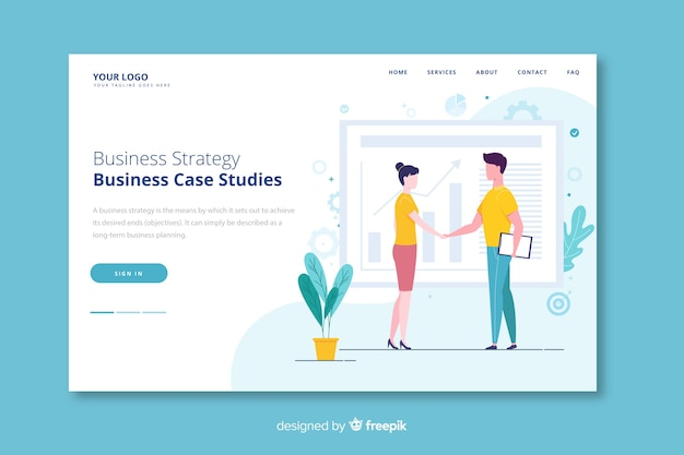 People shaking hands business strategy landing page