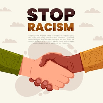 People shaking hands stop racism concept