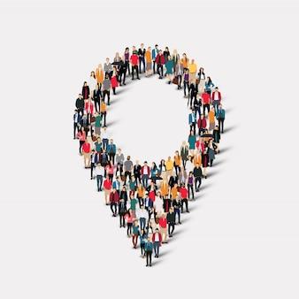 人の形のマップポインター。所定の形状を形成する群集群。