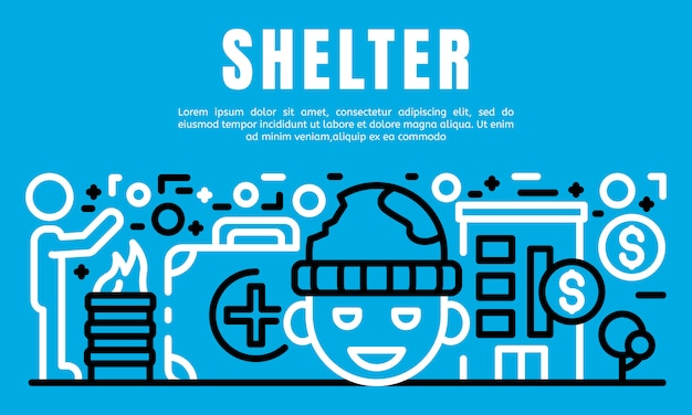People shelter banner, outline style