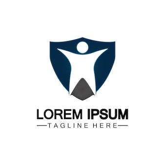 Люди щит значок. логотип страхования жизни, защиты человека или страховой концепции логотип векторной иллюстрации дизайн, изолированные на белом фоне