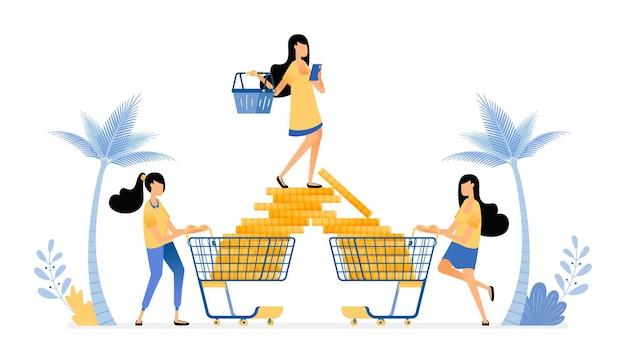 Люди делают покупки и тратят гораздо больше на вещи для досуга. расточительный в потреблении