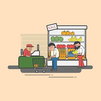 Люди, покупающие в продуктовом магазине