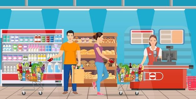 슈퍼마켓에서 쇼핑하는 사람들