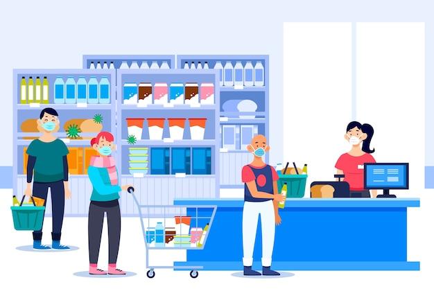 スーパーマーケットのコンセプトで買い物をする人