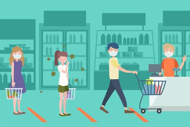 スーパーで買い物をする人