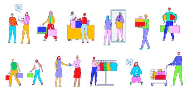 People do shopping, buy on sale, illustration, line art, characters, isolated on white, buy goods in the shop and online store, seller help customers.
