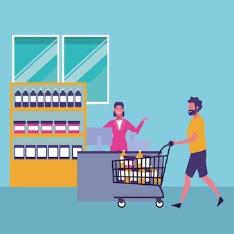 People shopping cartoons