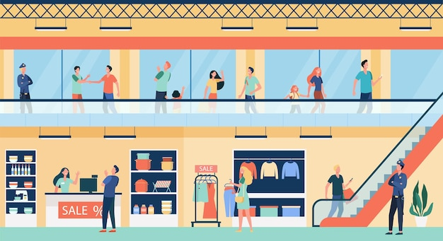 People shopping in city mall flat illustration. cartoon buyers walking inside commercial building or store