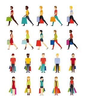 人々ショッピングデザイン、ベクトルイラストeps10グラフィック