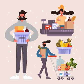 People shopping groceries concept